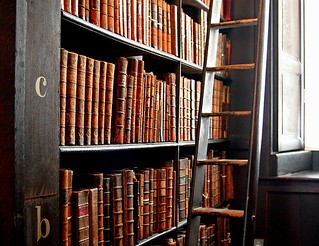 Trinity_College_Library-words_in_leather_and_wood | by GrrlScientist