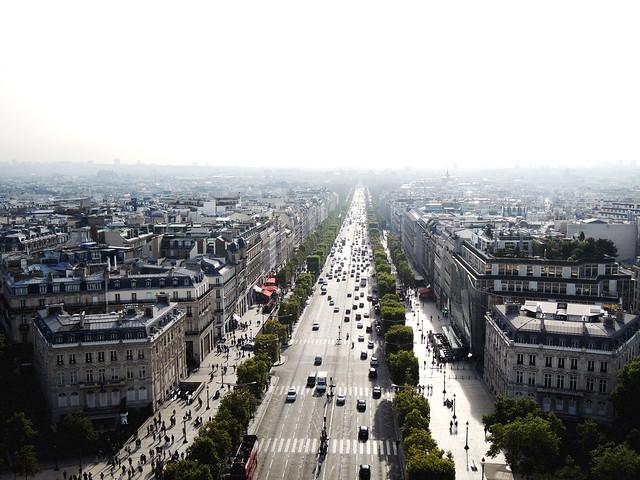 View of Champs-Élysées, Arc de Triomphe, Paris, France