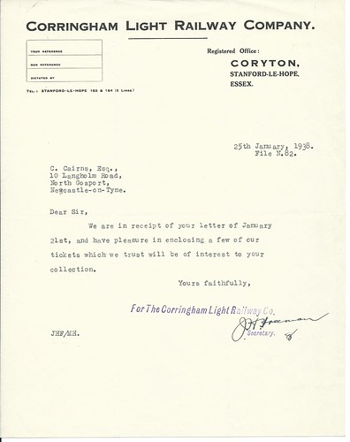 Corringham Light Railway Letterhead 1938 | by ian.dinmore