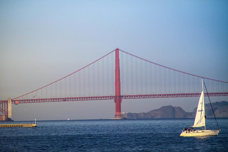 Golden Gate bridge, San Francisco seen from the Alcatraz