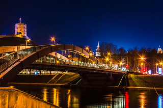 Bridge at Vilnius in night | by Mantas Volungevicius