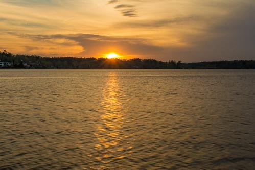 lake landscape sunset hotspringsvillage arkansas