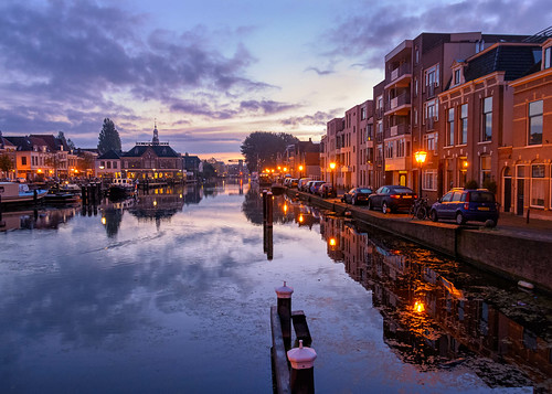 bluehour leiden netherlands thenetherlands architecture autumn boat canals city cityscape fall harbor port reflection ship ships street sunrise tourism travel water zuidholland nederland