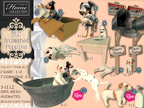 │T│L│C│ Gacha: 'animated puppies' @ The Cosmopolitan April 24 - May 5th   by - TRUE & LAUTLOS CREATIONS -