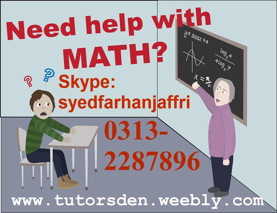 mathematics tutor, math tutor in karachi, online tuition