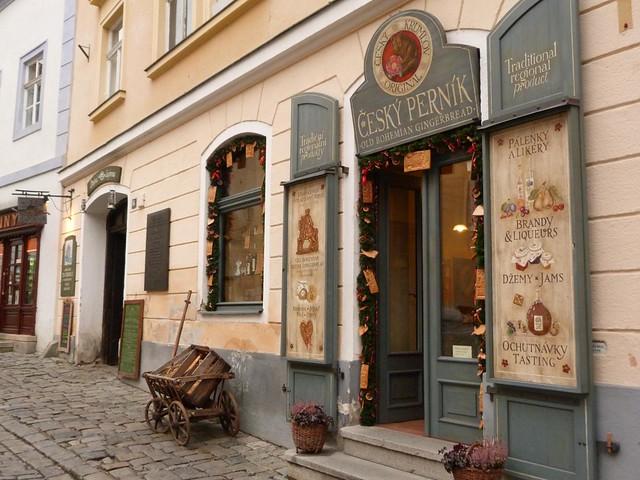 Comercio en el centro de Cesky Krumlov (República Checa)