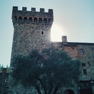 For a moment you think you're in Tuscany, and you envision the tasty wine and delicious meals that you're about to have.... And then you look around and it's Napa -- but that's also exactly what happens  #napa #castle #sun #olivetree #shadow #tower #sky # | by a25i