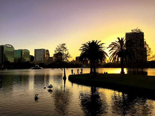 usa us florida orlando evening sunset lake water lakeeola iphone peterch51 america