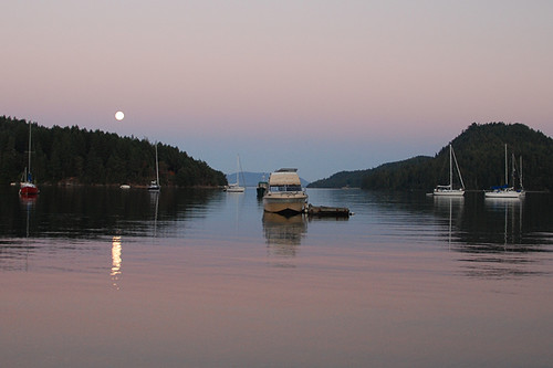 Moonrise at Port Browning, Pender Islands, Gulf Islands, Georgia Strait, British Columbia, Canada