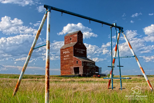 wood old canada building abandoned industry field grass set rural vintage landscape toy outdoor farm empty wheat farming elevator grain canadian structure swing storage silo crop weathered swingset harris prairie swinging saskatchewan agriculture prairies bents