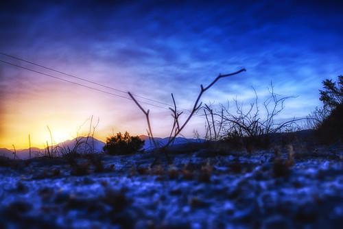 sunset sun mountain rock landscape bush nikon branch desert wires d200 hdr deserthotsprings hbmike2000