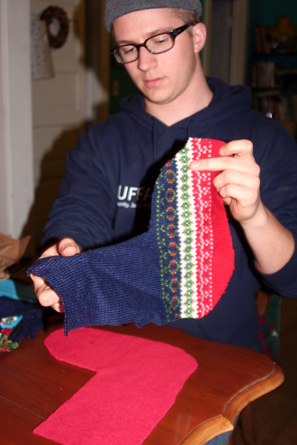 Ben making stockings