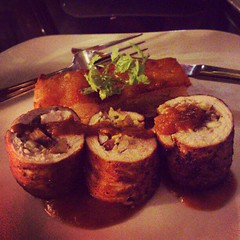 Roasted turkey roulades with chestnut stuffing...