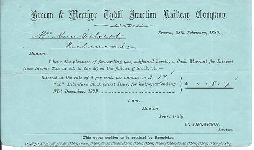 Brecon & Merthyr Tydfil Junction Railway dividend warrant 1880   by ian.dinmore