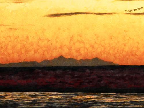 newzealand orange cloud abstract mountains texture yellow sunrise dawn nz plain sunup