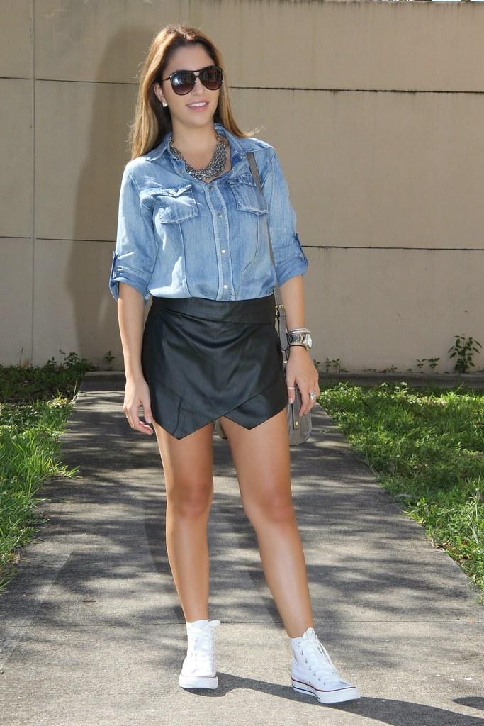 42fe195403 Blue denim snap up shirt & black leather skirt | ejt1977 | Flickr