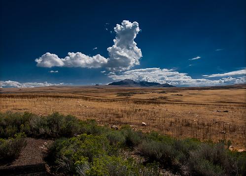 blue sky mountain nature clouds utah antelopeisland greatsaltlake wideview canons100 5558