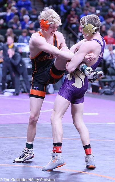 120AA - Semifinal - Garrett Vos (Waconia) 38-3 won by decision over Tanner Kroells (Delano) 42-4 (Dec 7-0)