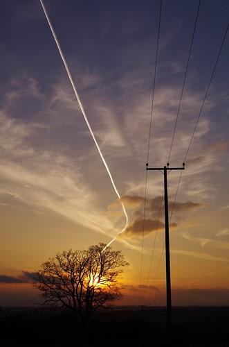 sunset sky trees silhouette pentax art pentaxart clouds light colour red shropshire