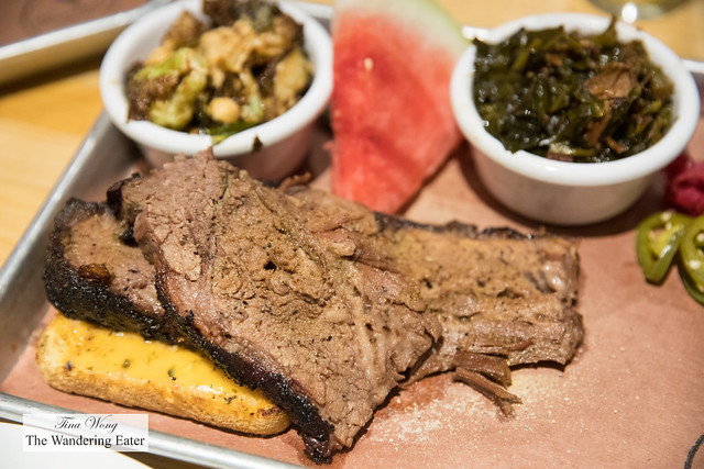 Prime brisket with bacon collards and crispy brussels sprouts with hazelnuts