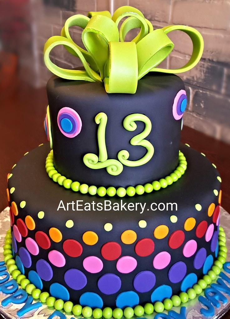 Phenomenal Girls Custom Black Fondant 13Th Birthday Cake With Bright Flickr Funny Birthday Cards Online Elaedamsfinfo
