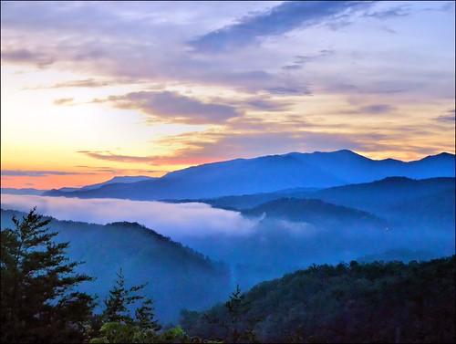 morning mountains clouds sunrise landscape greatsmokymountains autofocus gatlinburgtennessee corelpaintshoppro seviercountytennessee nikond3100 nikkor70300afsvrlens