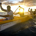 Then Tech. Sgt. Alfred Van Gieson, now Master Sgt., right, a reservist with 48th Aerial Port Squadron, 624th Regional Support Group, Joint Base Pearl Harbor-Hickam, coaches a six-man outrigger canoe crew during a training session in the waters off Kalaianaole Beach Park in Nanakuli, Oahu, Hawaii, Aug 11, 2016. Van Gieson is a veteran of Operation Iraqi Freedom, a world champion outrigger, or Va'a, paddler and the coach at the Leeward Kai Canoe Club, which was founded by his grandparents. (U.S. Air Force photo by J.M. Eddins Jr.)