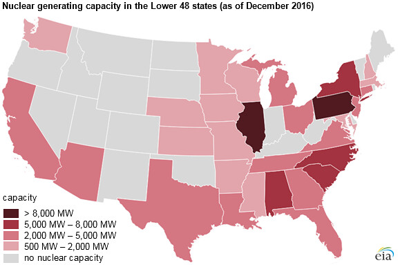 Map Of Us Showing Nuclear Electricity Generating Capacity Flickr - Nuclear-map-us