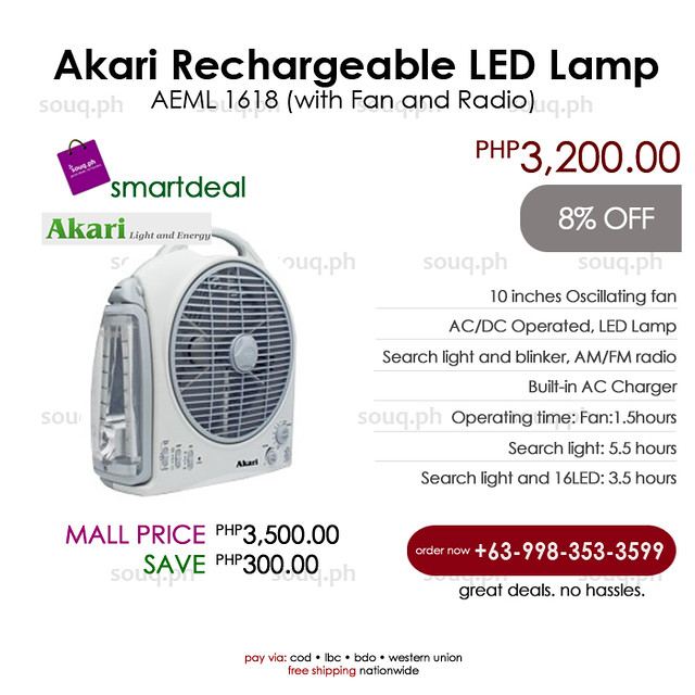 Akari Rechargeable Led Lamp Fan And Radio Aeml 1618 Flickr