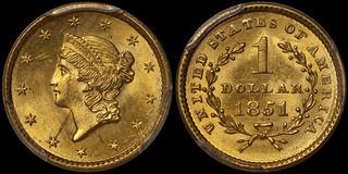 1851 $1.00 PCGS MS65   by RareGoldCoins.com
