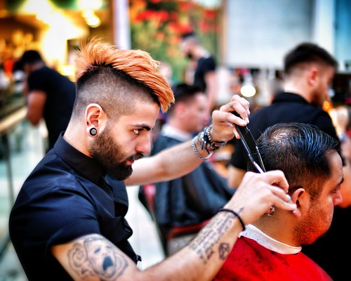 Mohawk hairdresser at work Doc Barnet Westfield | by hethelred