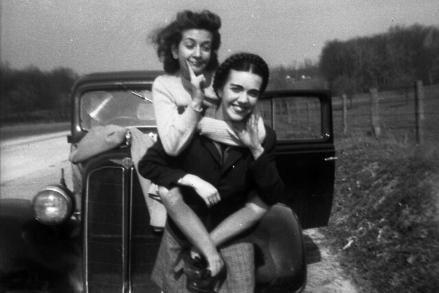 My mother on the shoulders of her sister in the 1940.