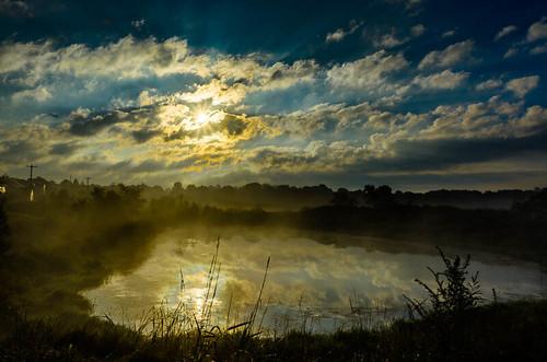 water misty fog wisconsin sunrise reflections pond unitedstates atmosphere waukesha starburst 2013
