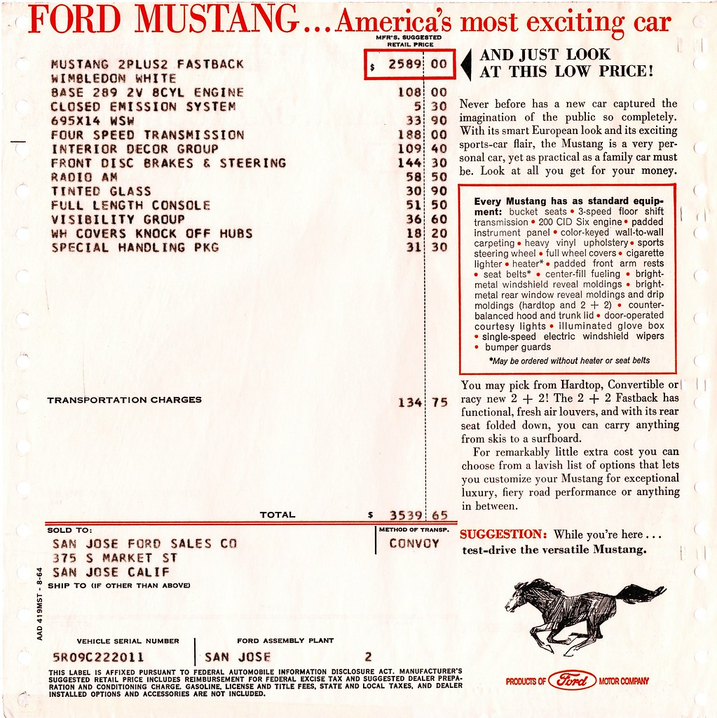 1965 Ford Mustang 2+2 Fastback Window Sticker | My first Mus
