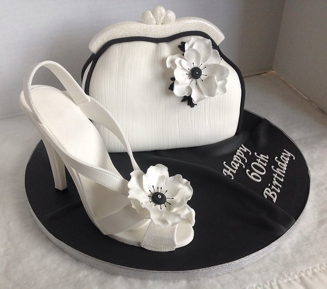 Black & White Shoe & Bag Cake
