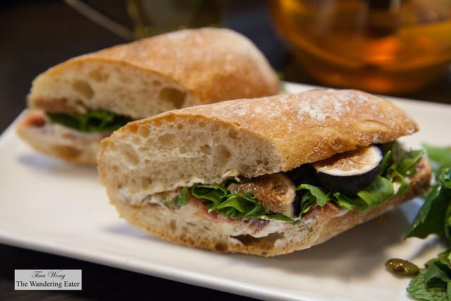 Figs, prosciutto, arugula, ricotta sandwich in baguette