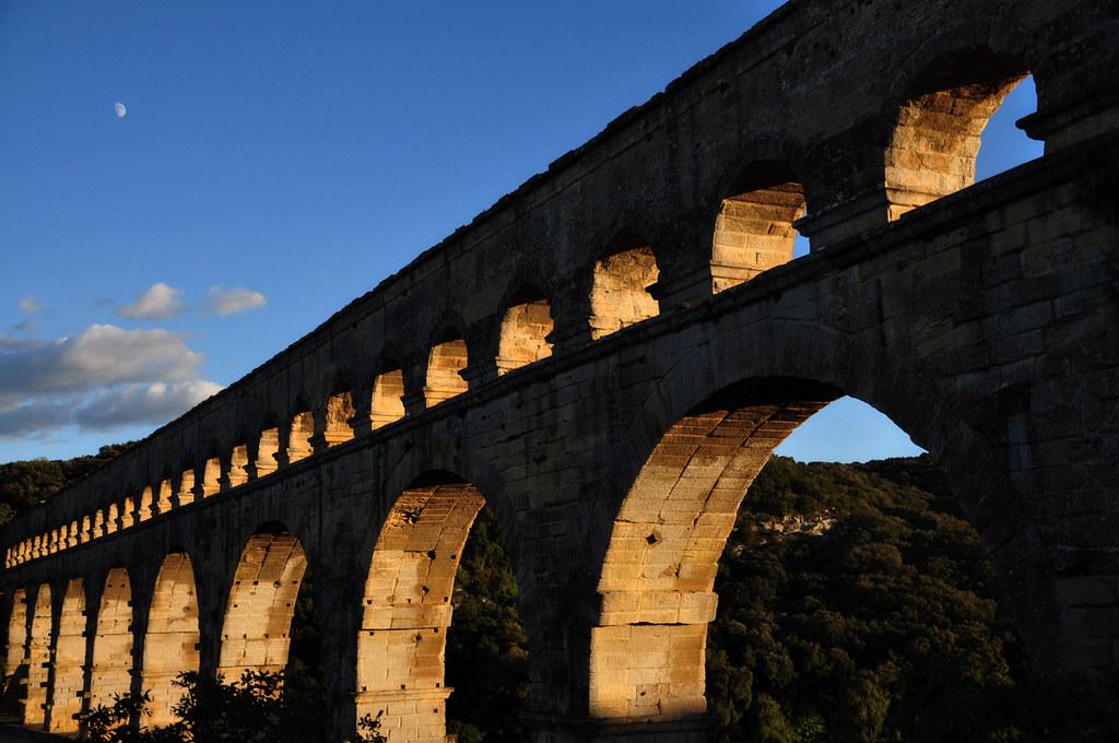 Sunset at Pont du Gard (Roman Aqueducts)