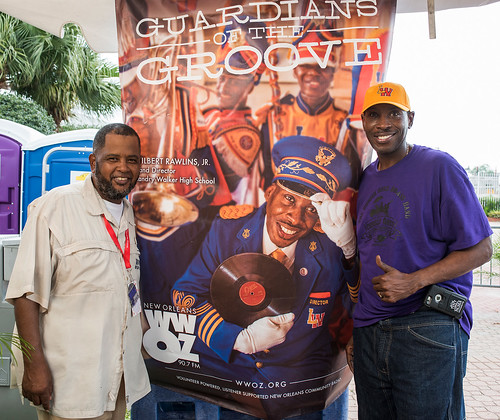 WWOZ's Action Jackson with band director Wilbert Rawlins. Jazz Fest day 1 on April 28, 2017. Photo by Ryan Hodgson-Rigsbee www.rhrphoto.com