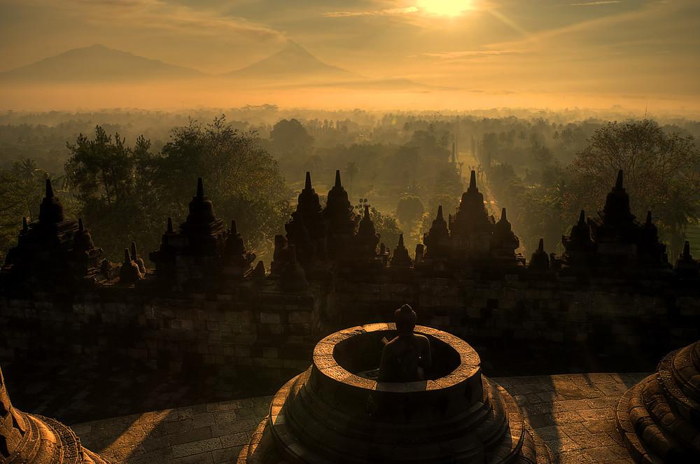 one warm morning at Borobudur