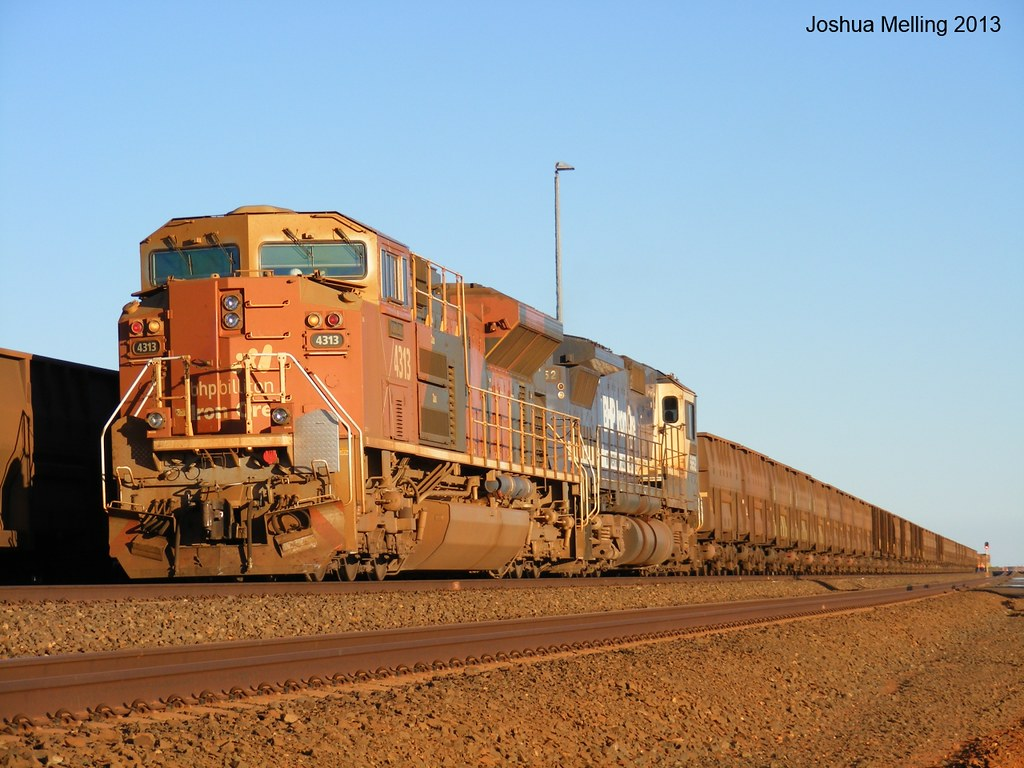 4313 and 5652 on a BHP iron ore train in the Pilbara on th