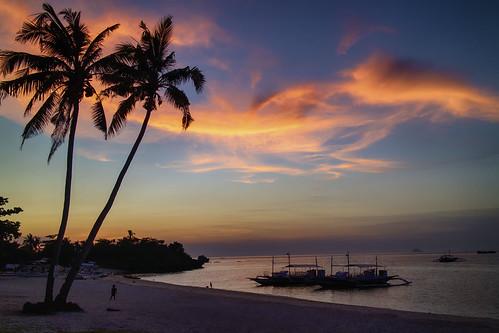 sunset dusk beach island malapascua tropical