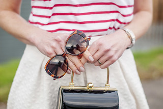 Perfect spring outfit: Red Breton stripe t-shirt \ white full midi skirt \ black d'Orsay patent heels \ tortoiseshell sunglasses \ black box handbag | Not Dressed As Lamb | by Not Dressed As Lamb