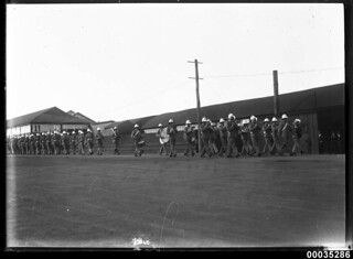 The Royal Marines Band Service marching in Sydney