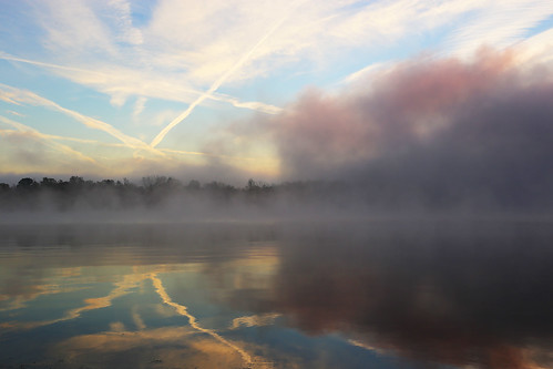 morning ohio lake reflection water fog clouds sunrise dawn day waynesville caesarcreek