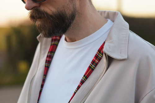 Casual weekend wear for over 40 men: Harrington jacket \ white t-shirt \ grey chinos \ white Converse | Silver Lononder, over 40 menswear blog | by silverlondoner