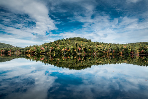 blue autumn trees red sky orange lake reflection tree green water leaves clouds reflections mirror day cloudy reflectingpool autumnal crystallake