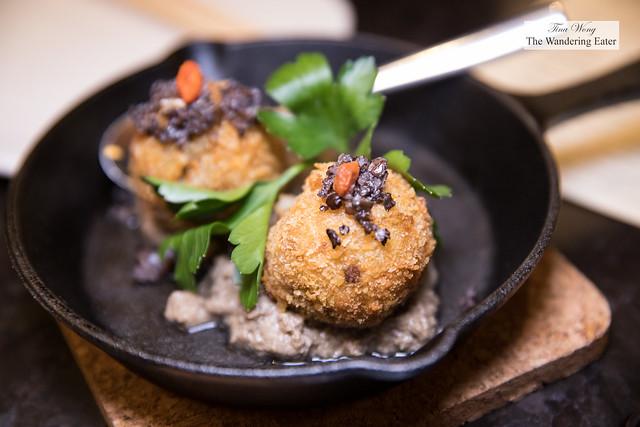 Truffled Potato Croquette on a bed of mushroom puree