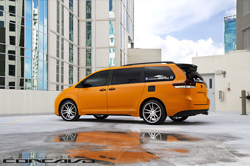 Toyota Sienna wrapped Matte Orange on CW-S5 Matte Grey Machined Face | by Concavo Wheels