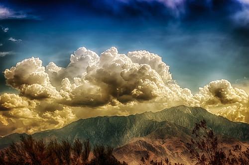 sky sunlight mountains weather clouds landscape nikon desert d200 hdr crepuscularrays deserthotsprings crepuscular hss niksoftware sliderssunday hbmike2000