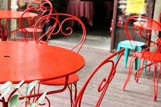 Red chairs and tables_0688 | by FeistyTortilla